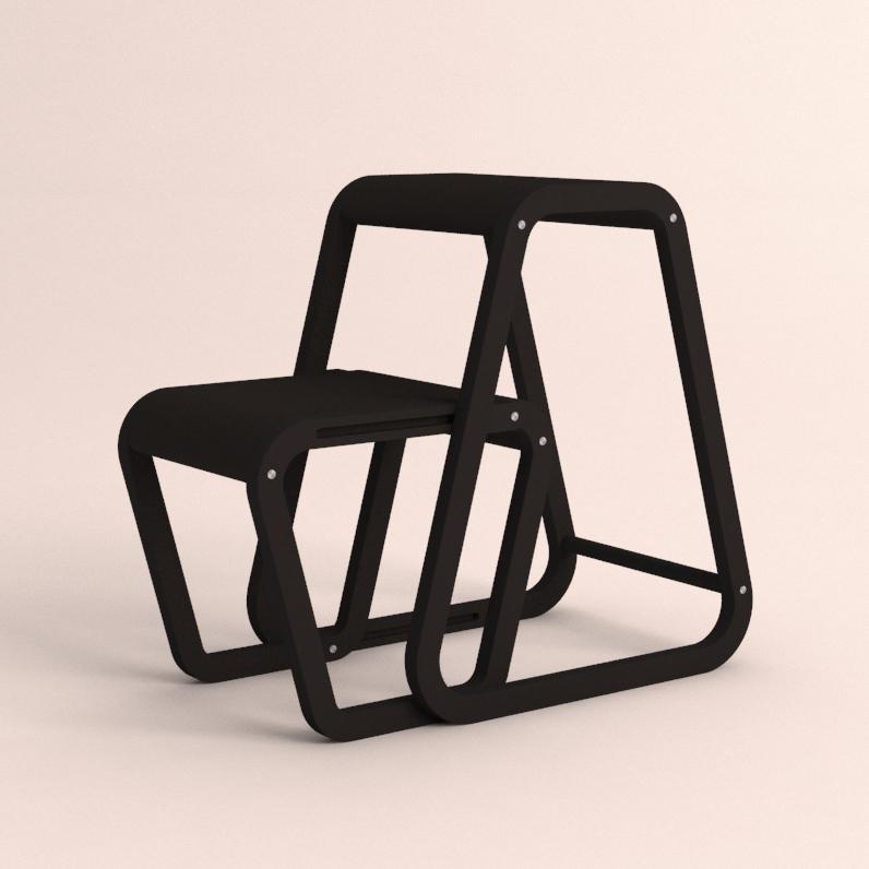 Aifos Stegpall – svart köksstege/pall i modern design – utfällt läge