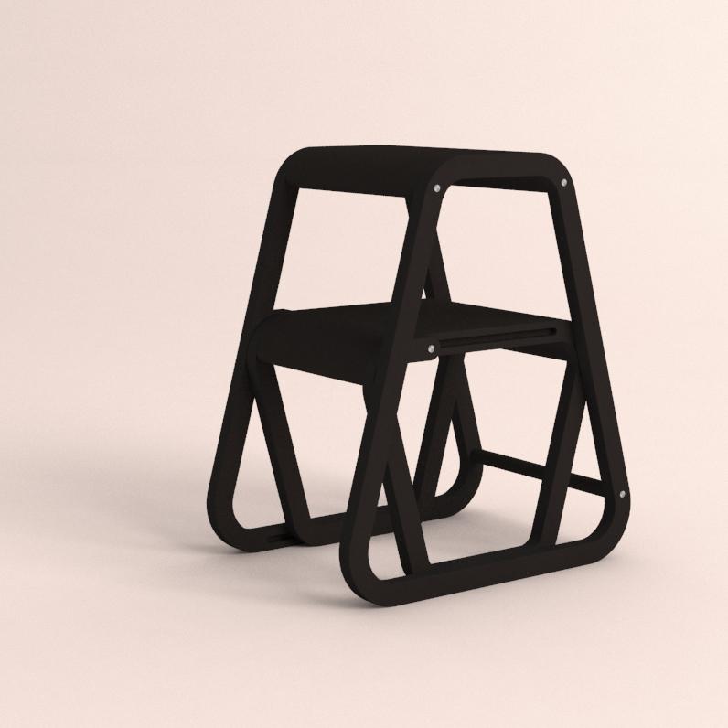Aifos Stegpall – svart köksstege/pall i modern design – ifällt läge