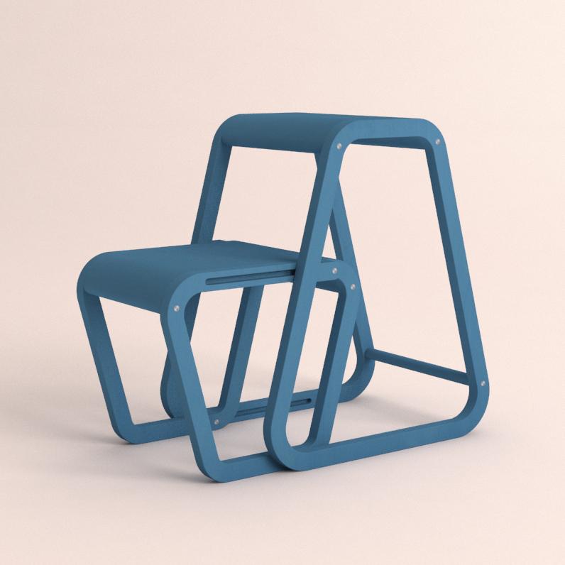 Aifos Stegpall – blå köksstege/pall i modern design – utfällt läge
