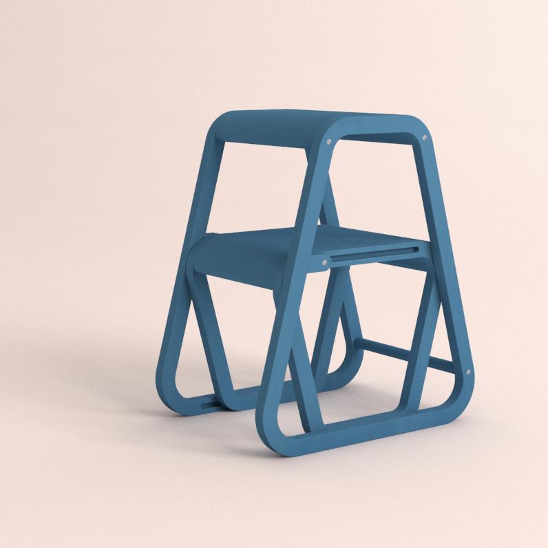 Aifos Stegpall – blå köksstege/pall i modern design – ifällt läge