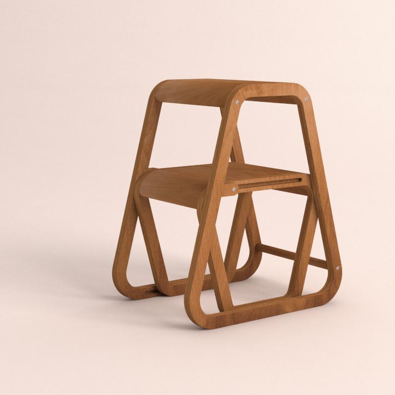 Aifos Stegpall – köksstege/pall av ytbehandlad björk i modern design – ifällt läge