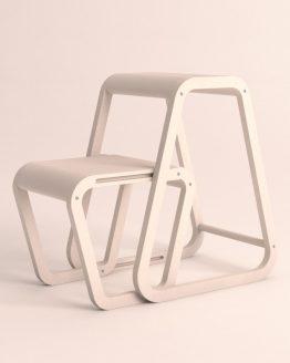 Aifos Stegpall – vit köksstege/pall i modern design – utfällt läge