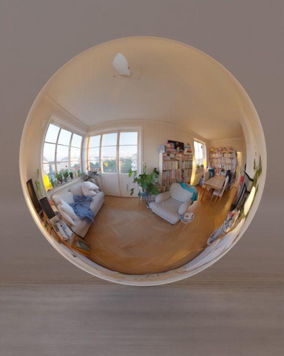 HDRI – Mysig lägenhet (sommar, solnedgång) – spegeldank utan horisont (EV 4.65; Filmic Blender)