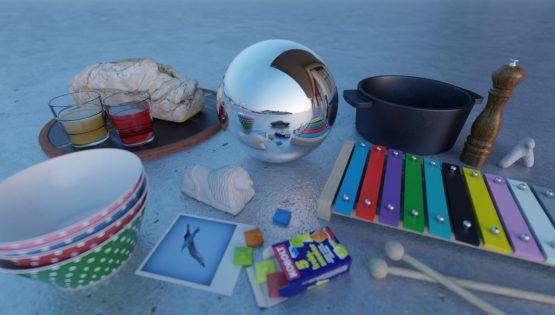 HDRI – Höghusbalkong (sommar, skymning) – stilleben med horisont (EV 5.60; Filmic Blender)