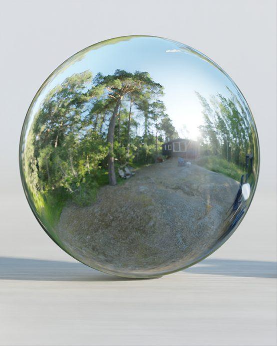 HDRI – Moderniststuga i skogen (sommar, tidig kväll) – spegeldank utan horisont (EV 8.95; Filmic Blender)