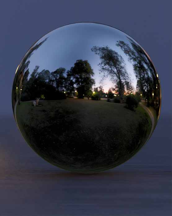 HDRI – Förbisedd stadspark (sommar, skymning) – spegeldank utan horisont (EV 2.55; Filmic Blender)