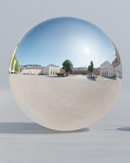 HDRI – Artillerigården (sensommar, middag) – spegeldank utan horisont (EV 11.65; Filmic Blender)