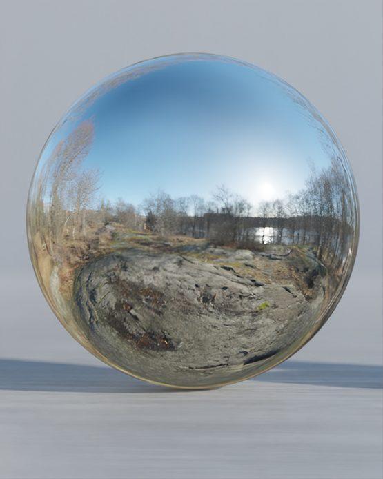 HDRI – Nobelparkens arboretum (senvinter, middag) – spegeldank utan horisont (EV 11.40; Filmic Blender)