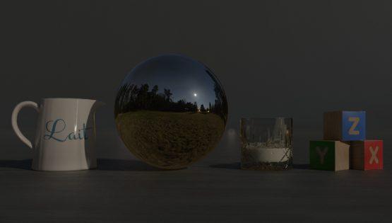 HDRI – Fullmåne över fält (vår, midnatt) – stilleben utan horisont (EV -1.50; Filmic Blender)