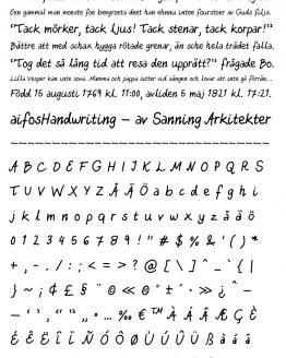 Typsnitt – aifosHandwriting – glyfer