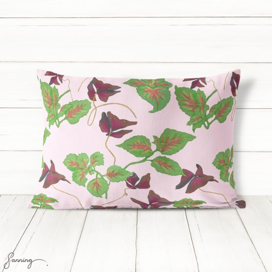 Blommönster – Oxalis och palettblad – exempeltryck på kudde