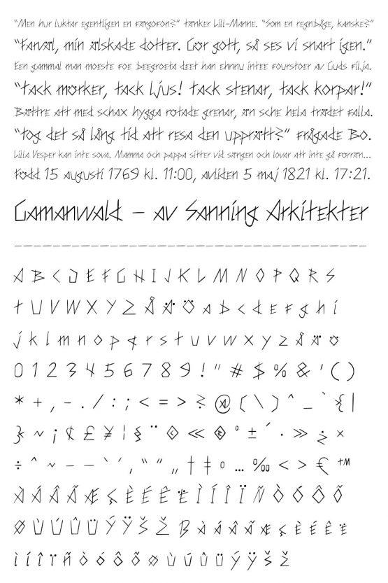 Typsnitt – Gamanwald – glyfer
