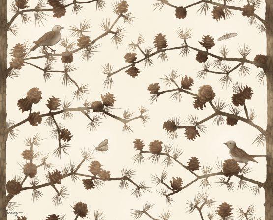 Trädmönster – Lärk med fåglar och malar