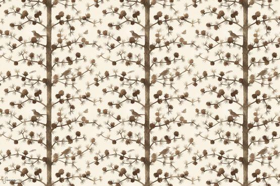 Trädmönster – Lärk med fåglar och malar – förhandsgranskning av mönster