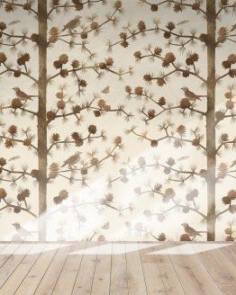 Trädmönster – Lärk med fåglar och malar – exempeltryck på tapet