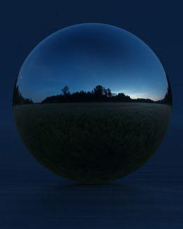 HDRI – Månskenslöst fält (sommar, midnattsskymning) – spegeldank utan horisont (EV -0.50; Filmic Blender)