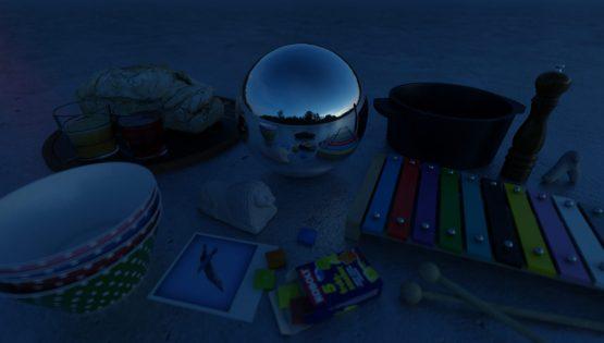 HDRI – Månskenslöst fält (sommar, midnattsskymning) – stilleben med horisont (EV -0.50; Filmic Blender)