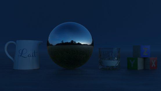 HDRI – Månskenslöst fält (sommar, midnattsskymning) – stilleben utan horisont (EV -0.50; Filmic Blender)