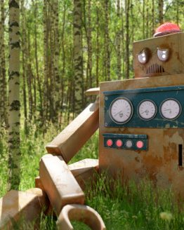 Möte med robot – digitalt konstverk av Sanning Arkitekter