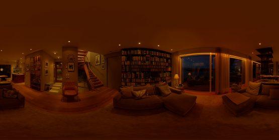HDRI – Modernt vardagsrum (sommar, sen kväll) – förhandsgranskning (EV 4.50; Filmic Blender)