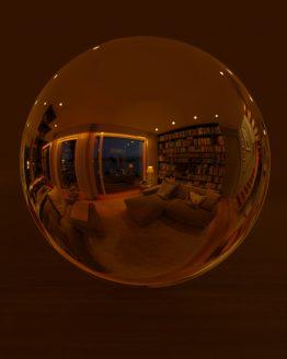 HDRI – Modernt vardagsrum (sommar, sen kväll) – spegeldank utan horisont (EV 4.50; Filmic Blender)
