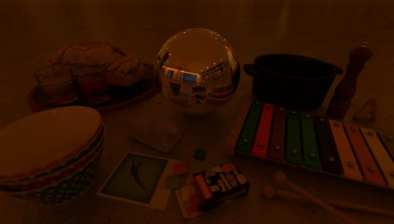 HDRI – Modernt vardagsrum (sommar, sen kväll) – stilleben med horisont (EV 4.50; Filmic Blender)
