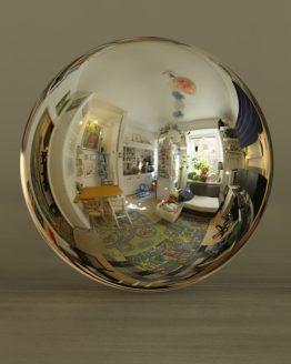 HDRI – Studiolägenhet (sommar, eftermiddag) – spegeldank utan horisont (EV 6.75; Filmic Blender)