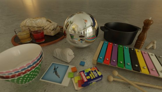 HDRI – Studiolägenhet (sommar, eftermiddag) – stilleben med horisont (EV 6.75; Filmic Blender)