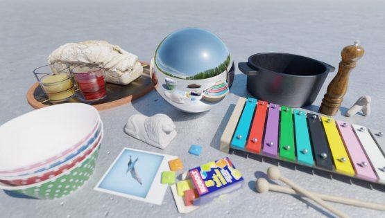 HDRI – Maskrosfält (sommar, middag) – stilleben med horisont (EV 12.25; Filmic Blender)
