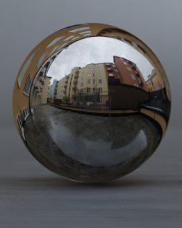 HDRI – Regnig bakgård (sommar, eftermiddag) – spegeldank utan horisont (EV 10.35; Filmic Blender)