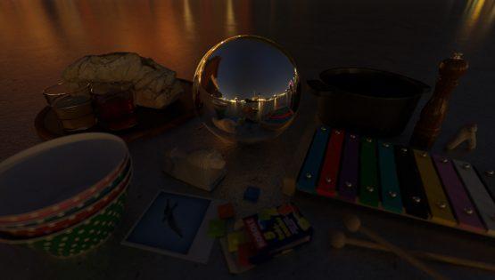 HDRI – Galärvarvet (sommar, midnatt) – stilleben med horisont (EV -0.85; Filmic Blender)