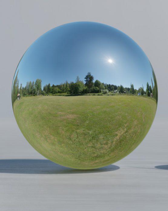 HDRI – Stor gräsmatta (sommar, middag) – spegeldank utan horisont (EV 12.65; Filmic Blender)