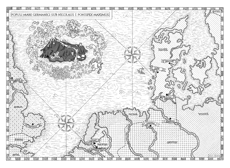 Sagan om Gamanwald – Skuggvättarnas välsignelse – Hessel Syhlén, Sofia Sanning – Karta över Nordsjön